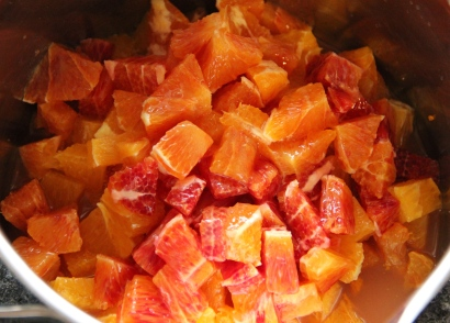 The cut blood oranges and orange