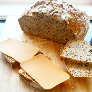 Fresh bread with brown cheese (so extremely Norwegian)