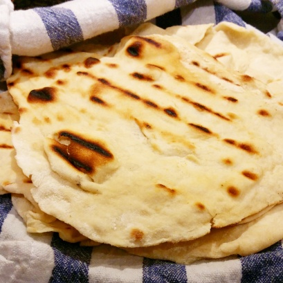 Keep the tortillas warm and moist in a damp tea towel until serving.