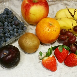 Selection of fruit to make fruit skewers