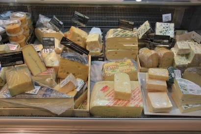Selection of cheese in the shop